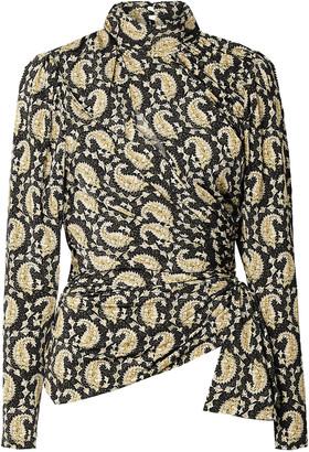 Altuzarra Cutout Ruched Paisley-print Stretch-jersey Turtleneck Top