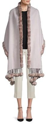 Gorski Rabbit Fur-Trim Wool & Cashmere-Blend Wrap