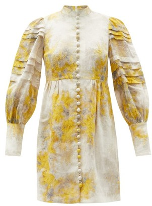 Zimmermann Botanica Wattle-print Linen Mini Dress - Yellow Print