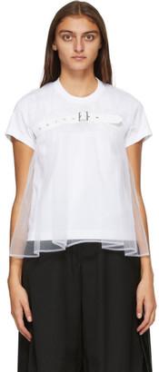Noir Kei Ninomiya White Tulle Overlay T-Shirt