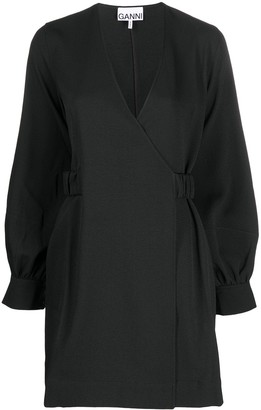 Ganni Long-Sleeve Wrap Dress