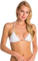 Vix Paula Hermanny Solid White Tri Embroidery Bikini Top 8129900