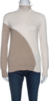 Loro Piana Beige Colorblock Cashmere Turtle Neck Sweaters S
