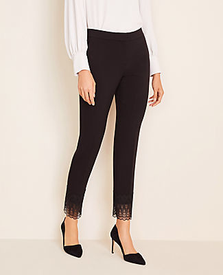 Ann Taylor The Petite Lace Hem Ankle Pant in Doubleweave