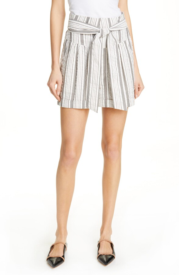 Rebecca Taylor Stripe Tie Waist Cotton Shorts