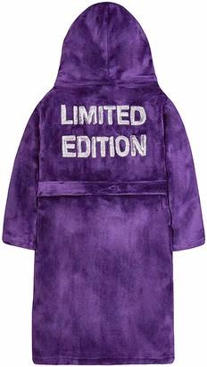 4 KIDZ Girls Sequin Trimmed Plush Fleece Dressing Gown (7-8 Years