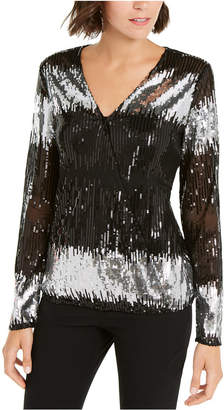 INC International Concepts Inc Surplice Sequined Stripe Blouse