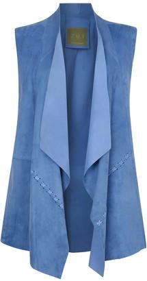 Zut London Suede Leather Sleeveless Jacket - Sky Blue
