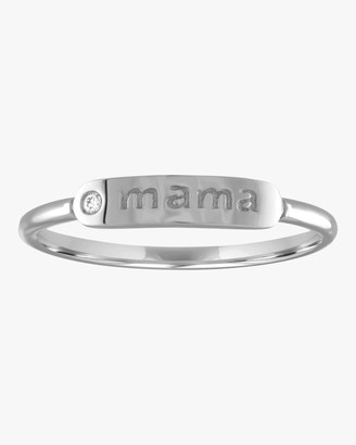 My Story Mama Skinny Signet Diamond Mantra Ring