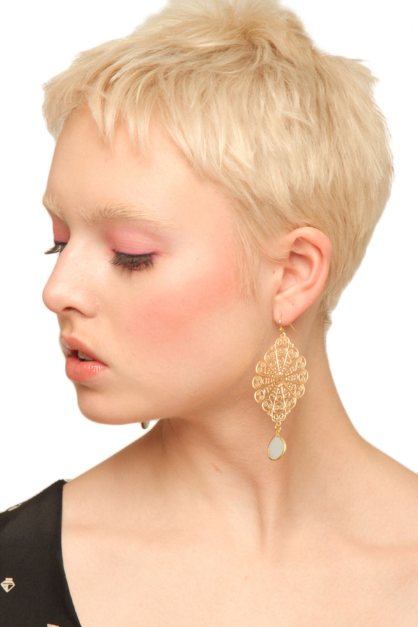 LaBelle Moon Filigree Earrings with Light Blue Stones