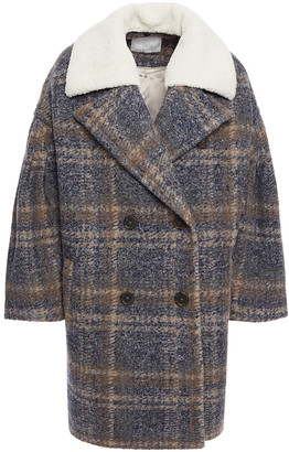Joie Faux Shearling-trimmed Checked Felt Coat