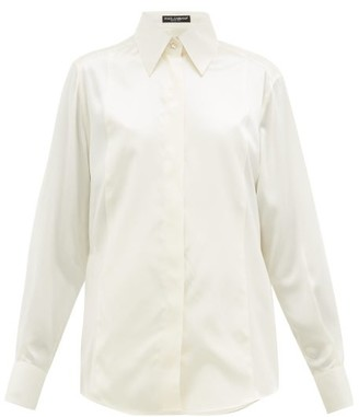 Dolce & Gabbana Point-collar Silk Blouse - Cream