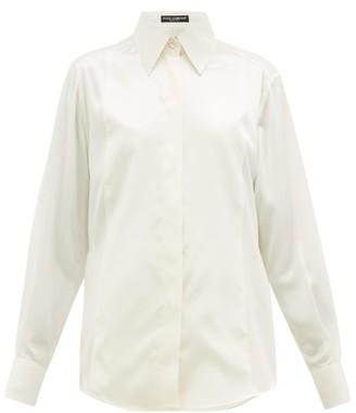 Dolce & Gabbana Point-collar Silk Blouse - Womens - Cream