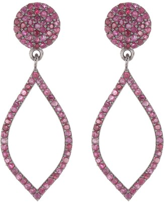 Forever Creations Usa Inc. Sterling Silver Ruby Drop Earrings