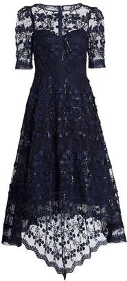 Teri Jon by Rickie Freeman Lace High-Low Dress