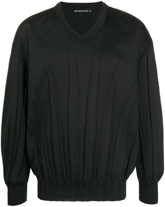 Issey Miyake crease-detail V-neck jumper