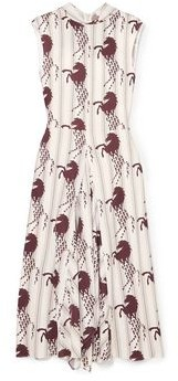 Chloé Asymmetric Tie-neck Printed Jersey Midi Dress