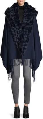 Belle Fare Wool & Cashmere-Blend Rabbit Fur-Trim Shawl