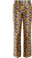 Gucci Geometric floral-jacquard flared trousers
