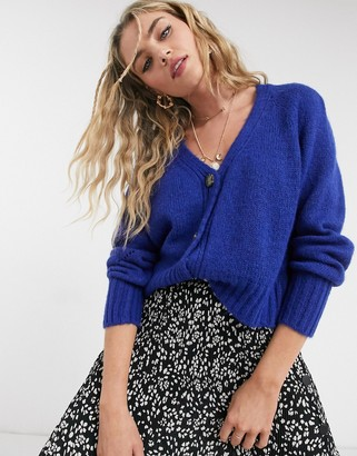 Topshop cropped cardigan in blue