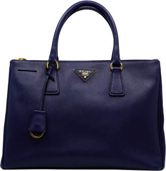 Prada Blue Saffiano Lux Leather Tote Bag