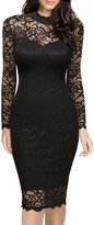 Miusol Women's Vintage Floral Lace Long Sleeve Slim Formal Mini Pencil Dress