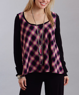 Stetson Black & Magenta Plaid Scoop Neck Top - Women