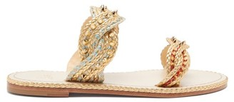 Christian Louboutin Normandie Braided-strap Leather Slides - Womens - Gold