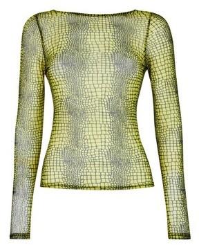 Dorothy Perkins Womens **Lola Skye Green Animal Print Scoop Top, Animal