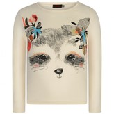 Catimini CatiminiGirls Ivory Raccoon Print Top