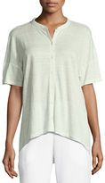 Eileen Fisher Short-Sleeve Button-Front Linen Jersey Top, Plus Size