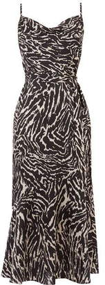 Oasis Animal Cowl Midi Dress