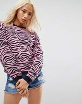 Asos Sweater with Crew Neck in Zebra Pattern