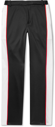Burberry Piped Mesh-Panelled Tech-Jersey Trousers