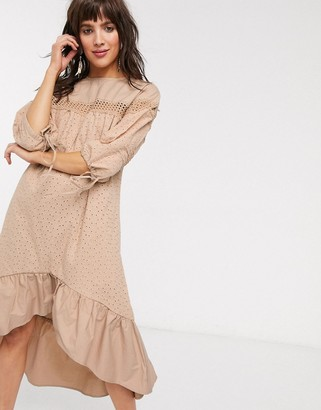 Lost Ink midi smock dress with ladder trim in broderie