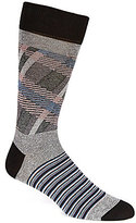 Bugatchi Mercerized Plaid Stripe Mid-Calf Socks