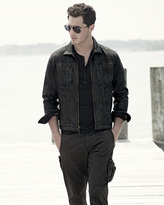 John Varvatos Waxed Denim Zip-Front Jacket, Black