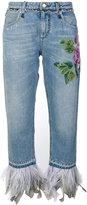 Dolce & Gabbana hydrangea appliqué cropped jeans - women - Silk/Cotton/Goat Skin/Turkey Feather - 40