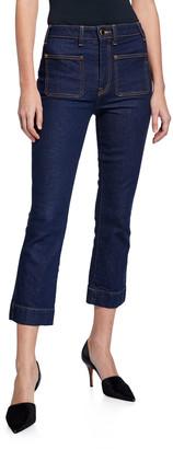 KHAITE Raquel Patch-Pocket Crop Flare Jeans, Blue