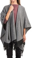 Portolano Wool Fringed Ruana Poncho (For Women)