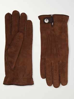 Brunello Cucinelli Shearling-Lined Perforated Suede Gloves - Men - Brown