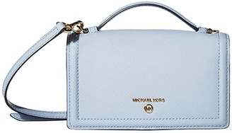 MICHAEL Michael Kors Jet Set Charm Small Top-Handle Phone Crossbody (Pale Blue) Handbags