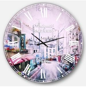 Design Art Designart Cityscape Digital Oversized Round Metal Wall Clock