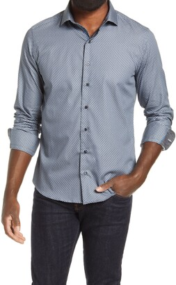 Stone Rose Dry Touch Fan Print Performance Button-Up Shirt