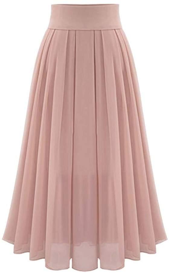 MorySong Chiffon High Waisted Pleated Maxi Women Beach Skirt Vintage Dress L