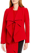 Kasper Draped Shawl-Collar Stretch Crepe Jacket