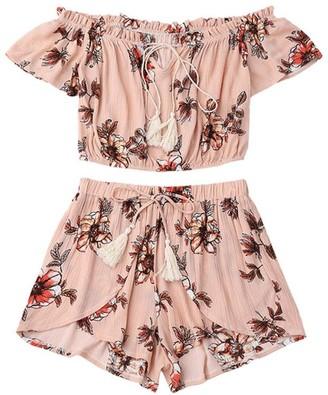 Xinantime  ❤️ Summer Shorts Xinantime Chiffon Casual Two Piece Set Women Off Shoulder Printed Beachwear Crop Tops Set (S