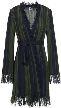 M Missoni Belted Frayed Crochet-knit Cotton-blend Cardigan