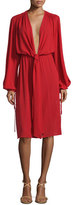Michael Kors Long-Sleeve Plunging-V-Neck Dress, Crimson