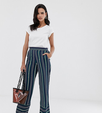 Esprit stripe wide leg trouser in navy and green stripes